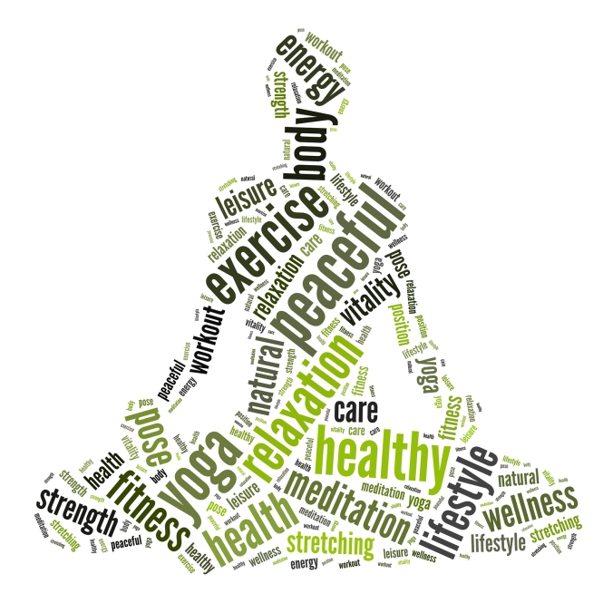 Yoga position info-text graphics arrangement and word clouds con